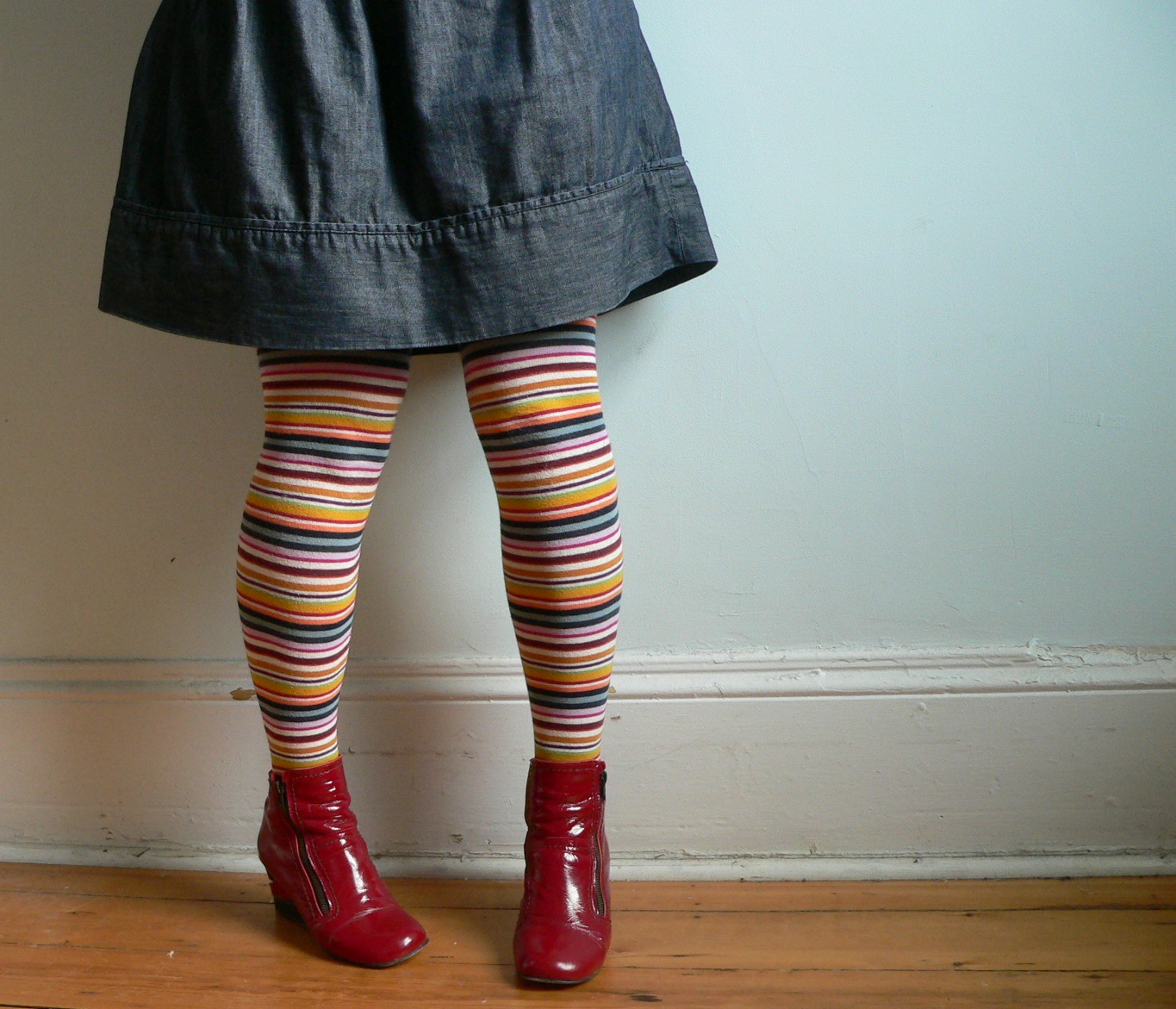 4949d4807 Multi-Coloured Stripy Wooly Tights  bought them in Madrid Red Booties  Fly  London