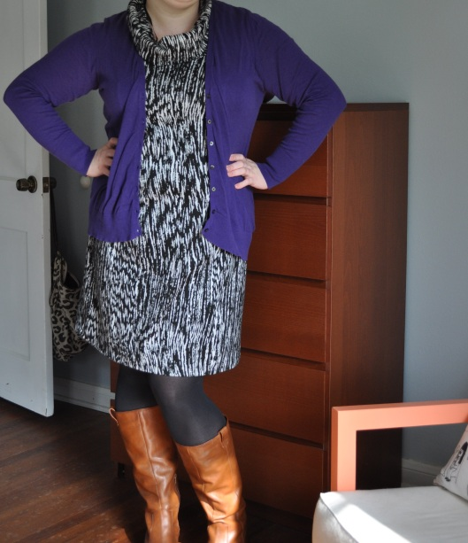 Cardi: Old Navy; Dress: Lane Bryant; Tights: Hue; Boots: J. Simp