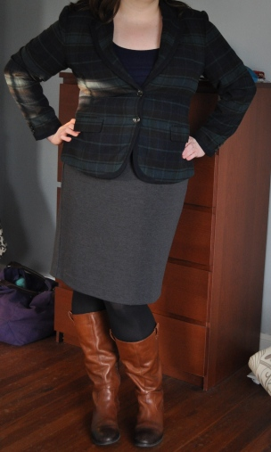 Blazer: Target; Navy scoop-neck: Old Navy; Grey pencil skirt: Lane Bryant; Black tights: Hue; Boots: Jessica Simpson