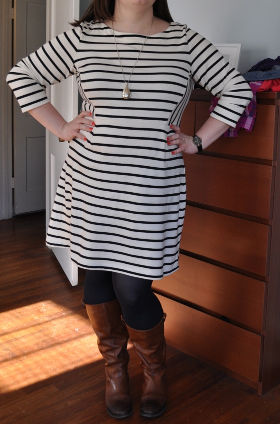 Dress: Gap; Pendant: H&M; Tights: Hue; Boots: Jessica Simpson; Watch: Kenneth Cole