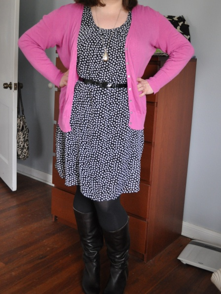 Cardigan: Old Navy; Dress: Target; Tights: Hue; Boots: Corso Como; Pendant: H&M