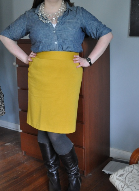 Chambray button up: Old Navy; Pencil Skirt: Lane Bryant; Tights: Hue; Boots: Corso Como; Lucite necklace: Anthropologie; Watch: Kenneth Cole (gifted)