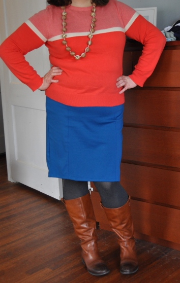 Sweater: Joe; Pencil skirt: Target; Tights: Hue; Boots: Jessica Simpson; Necklace: RW&Co.