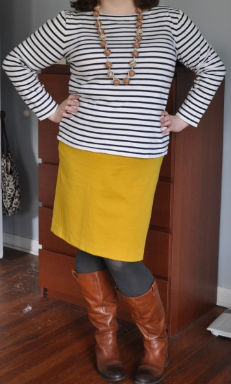 Striped top: Joe; Pencil skirt: Lane Bryant; Necklace, boots, tights: As above