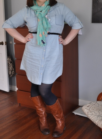 Dress: Old Navy; Scarf: Gap; Tights: Hue; Boots: as above
