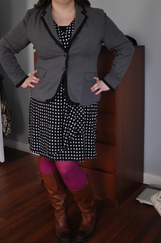 Dress, Cami, & Blazer: Target; Tights: Hue; Boots: Jessica Simpson