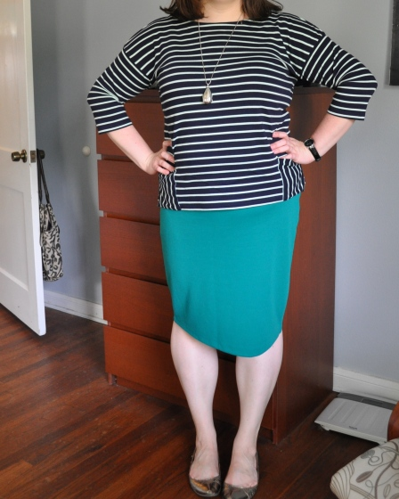 Shirt: Gap; Skirt: Target; Shoes: Nine West; Silver Pendant: H&M