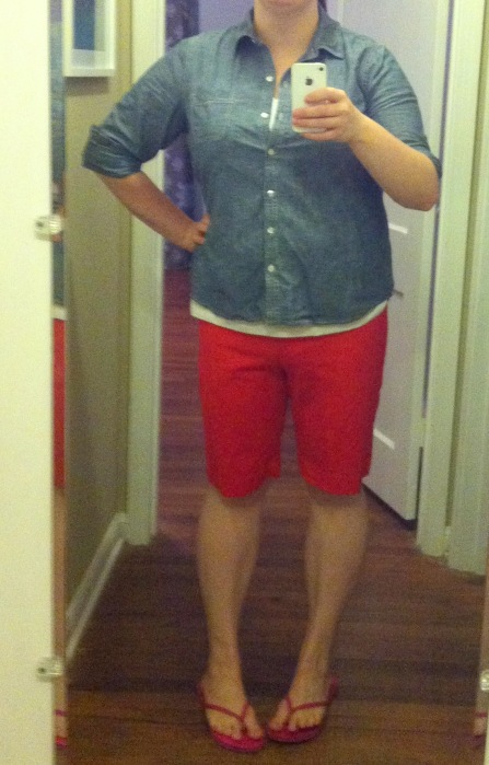 Chambray & white v-neck: Old Navy; Shorts: Target: House flip flops: Old Navy