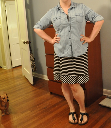 Chambray: Old Navy; Skirt: Target; Sandals: Birkenstock
