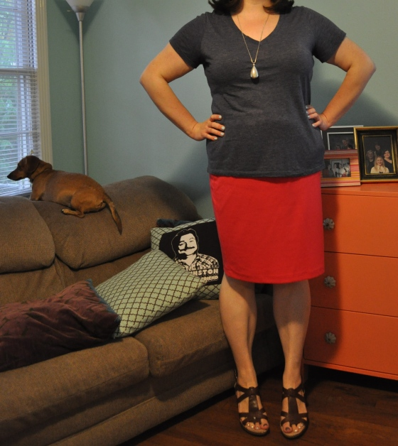 T shirt: Old Navy; Skirt: Target; Pendant: Old Navy; Shoes: Born; Nail polish: Essie Mint Candy Apple