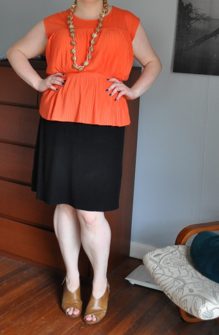 Top: Target; Skirt: Eddie Bauer; Sandals: Aerosoles; Necklace: RW & Co.