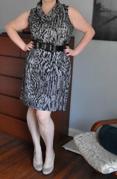 Dress: Lane Bryant; Belt: NY & Co.; Shoes: Jessica Simpson