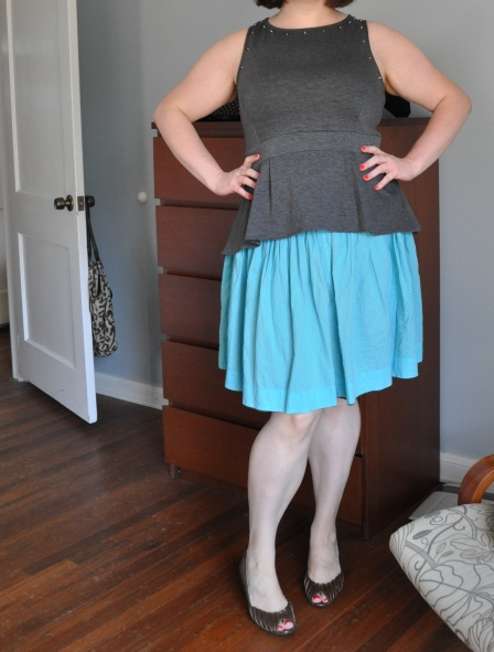 Top: Target; Skirt: Gap; Bronze Wedges: Etienne Aignier