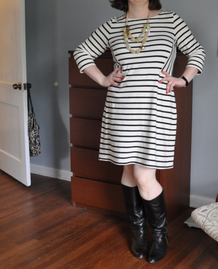 Dress: Gap; Necklace: Anthropologie; Boots: Corso Como