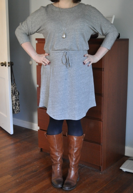 Dress: Old Navy; Navy Tights: Hue; Boots: Jessica Simpson; Beloved silver pendant: H&M