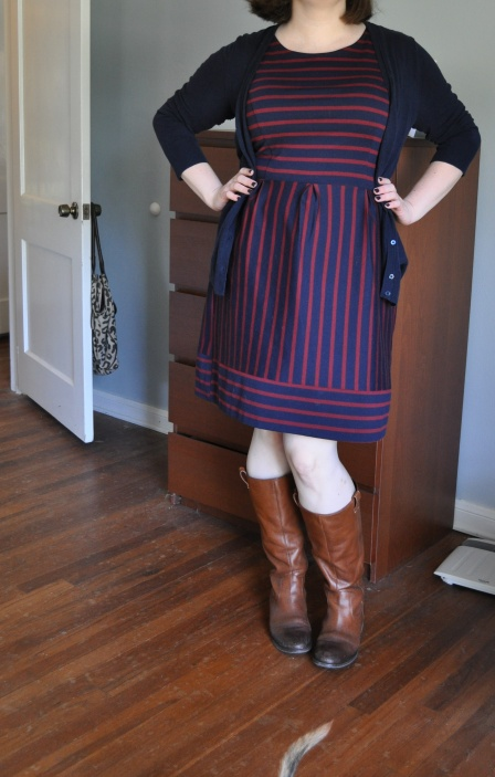 Dress and Cardigan: Target; Boots: Jessica Simpson