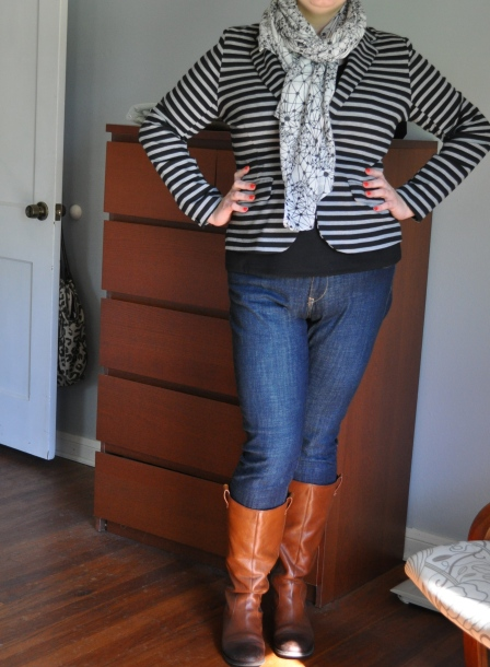 Blazer & virtually unseen black ponte shell: Target; Jeans: Old Navy; Boots: Jessica Simpson; Scarf: some store in Berlin