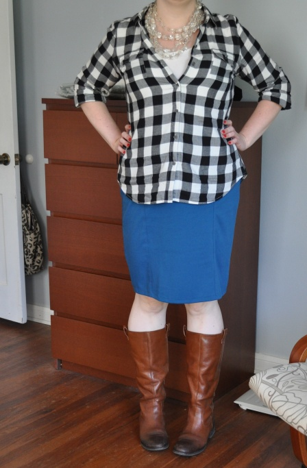 Button-up Shirt: Old Navy; Tank & Pencil Skirt: Target; Boots: Jessica Simpson; Lucite Necklace: Anthropologie