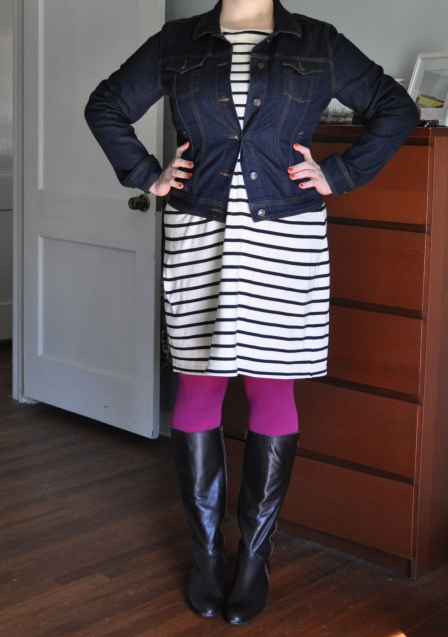 Dress: Gap; Denim jacket: Old Navy; Tights: Hue; Boots: Corso Como