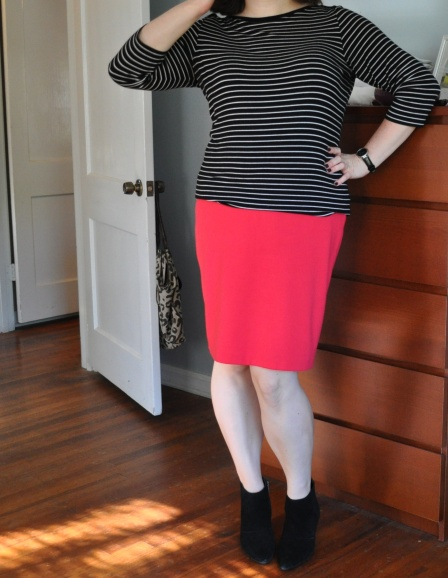 Striped shirt: Joe; Pencil skirt: Target; Watch & suede booties: Kenneth Cole