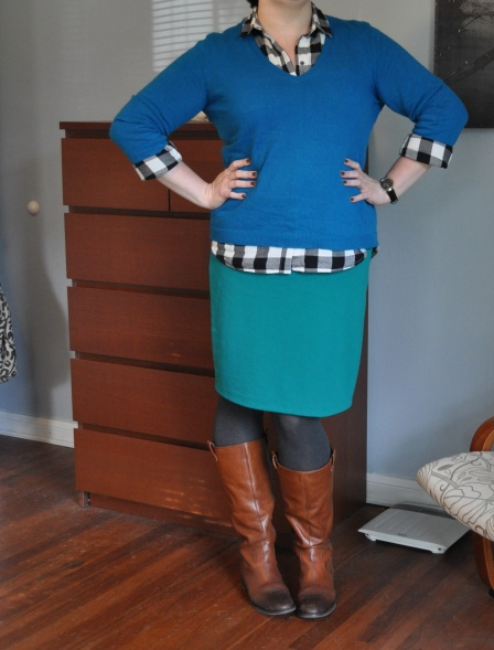 Sweater: Joe; Buffalo plaid button down: Old Navy; Pencil skirt: Target; Grey tights: Hue; Boots: Jessica Simpson; Watch: Kenneth Cole