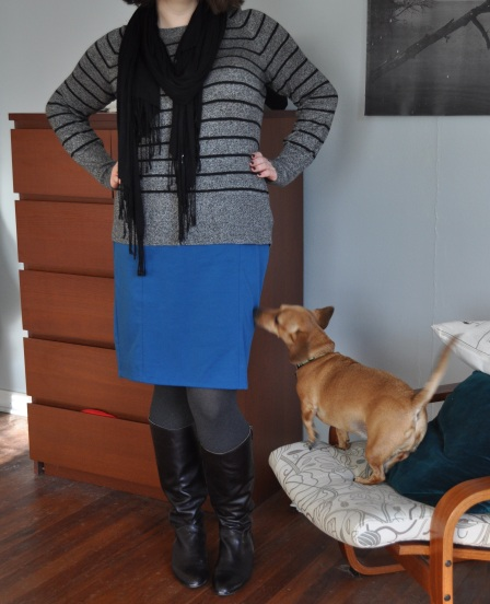 Sweater & pencil skirt: Target; Scarf: World Market; Tights: Hue; Boots: Corso Como