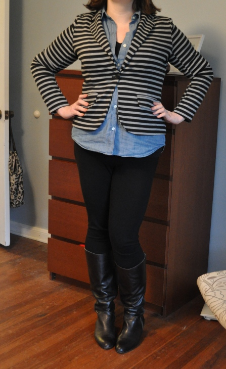 Blazer: Target; Chambray & black t-shirt: Old Navy; Ponte jeggings: Gap; Boots: Corso Como
