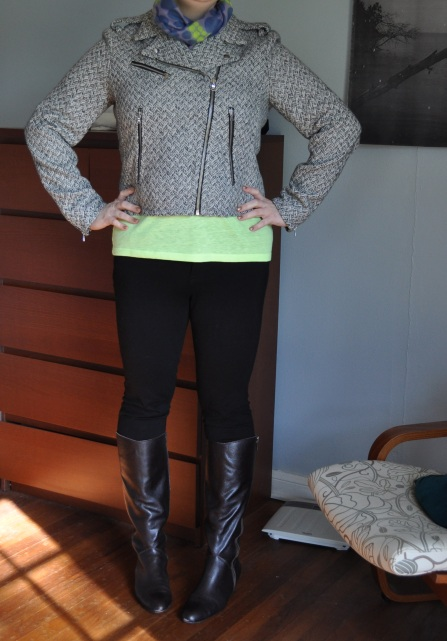 Houndstooth moto jacket: Gap; Neon yellow t shirt: Old Navy; Jeggings: Gap; Scarf: Gifted from the youngest sister from her trip to Milan; Boots: Corso Como
