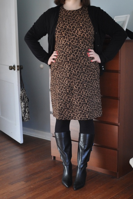 Dress: Lands End (gifted); Cardigan: Joe; Tights: no clue, probably Hue; Boots: Sofft