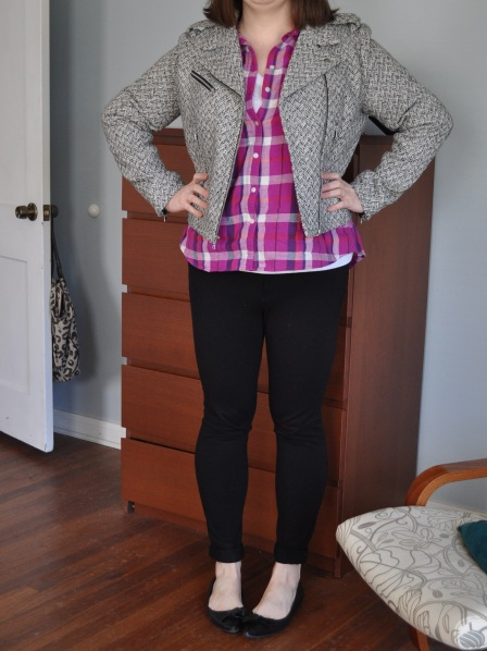 Jacket & ponte leggings: Gap; Plaid & white t-shirt: Old Navy; Black flats: Me Too