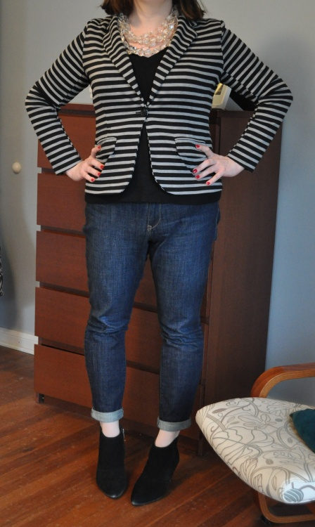 Blazer & Sweater: Target; Skinnies: Old Navy; Booties: Kenneth Cole; Lucite necklace: Anthropologie