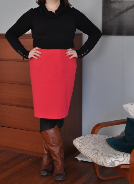 Turtleneck & skirt: Target; Tights: I don't know, Hue probably; Boots: Jessica Simpson