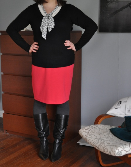 Sweather, t-shirt, skirt: Target; Tights: Hue; Boots: Corso Como