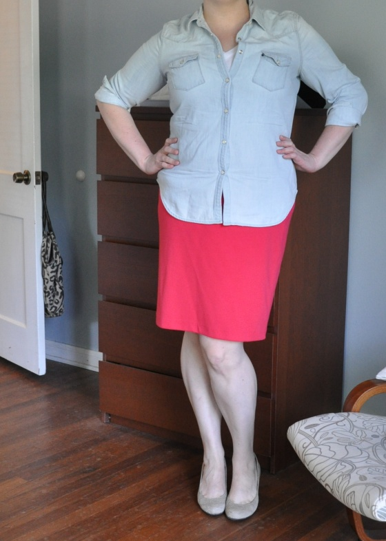 Chambray: Gap; White v-neck: Old Navy; Pencil skirt: Target; Concrete wedges: Jessica Simpson