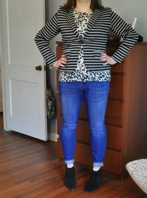Blazer & shell: Target; Jeggings: Gap; Suede Booties: Kenneth Cole
